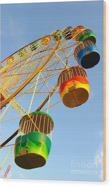 Colourful Ferris Wheel Wood Print