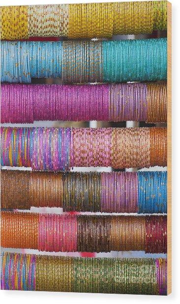 Colourful Indian Bangles Wood Print