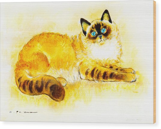 Colourpoint Cat Wood Print by Kurt Tessmann