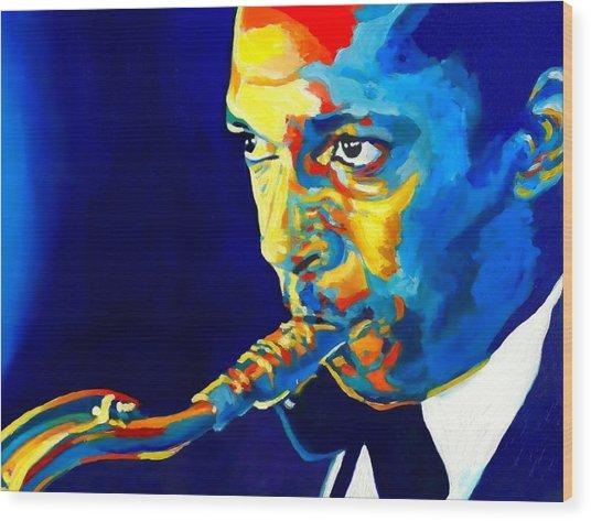 Coltrane-blu Wood Print by Vel Verrept
