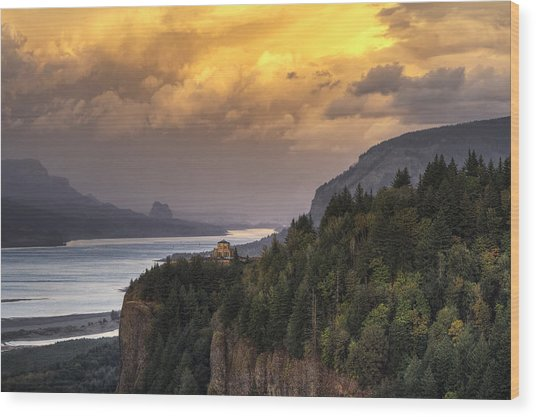 Columbia River Gorge Vista Wood Print