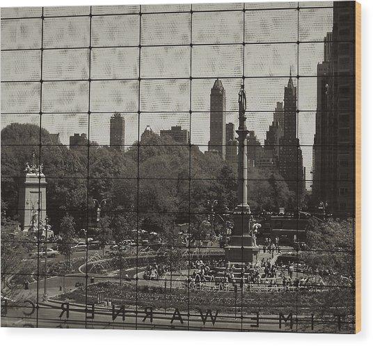 Columbus Circle Through The Time Warner Glass Window Wood Print
