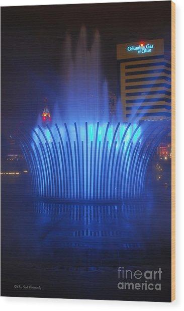 D101l-122 Scioto Mile Fountain Photo Wood Print
