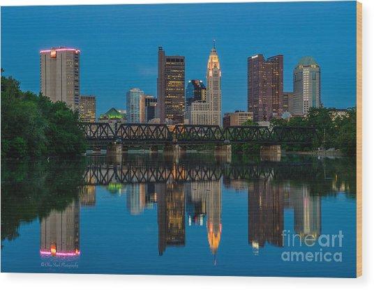 Columbus Ohio Night Skyline Photo Wood Print
