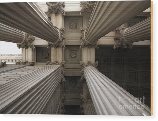 Columns At The National Archives In Washington Dc Wood Print