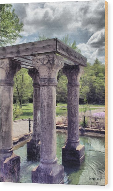 Columns In The Water Wood Print