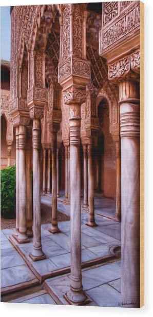 Columns Of The Court Of The Lions - Painting Wood Print