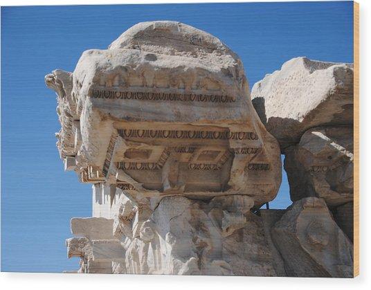 Columns - Pergamum Wood Print by Jacqueline M Lewis