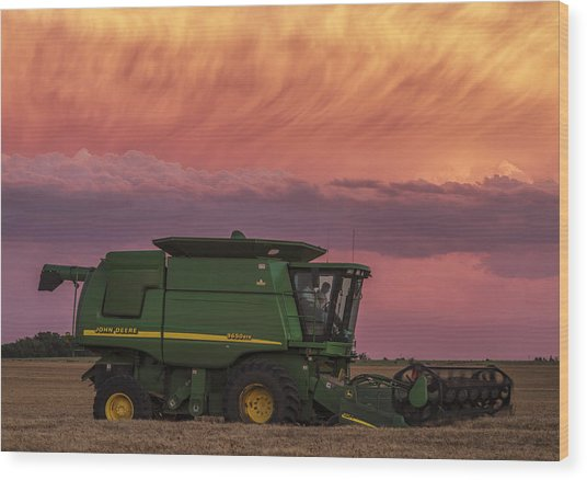 Combine At Sunset Wood Print