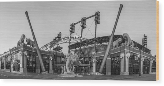 Comerica Park Black And White Wood Print