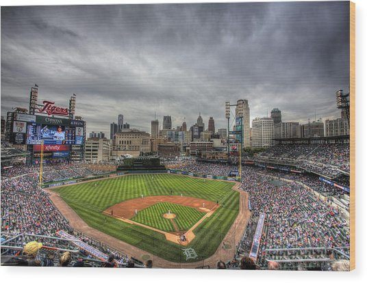 Comerica Park Home Of The Tigers Wood Print