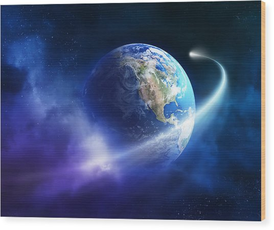 Comet Moving Passing Planet Earth Wood Print