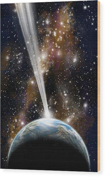 Comet Strike Wood Print
