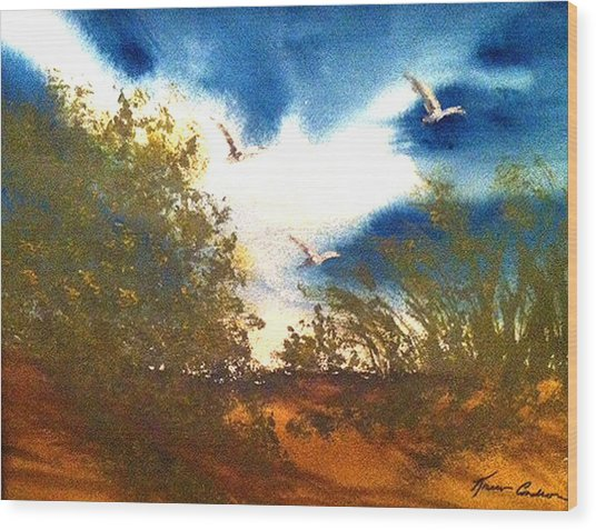 Coming Of Spring Wood Print by Karen  Condron
