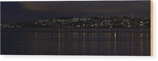 Commencement Bay Light Trail Wood Print