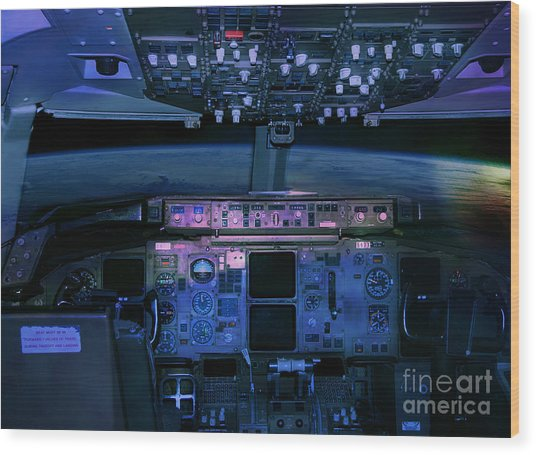 Commercial Airplane Cockpit By Night Wood Print