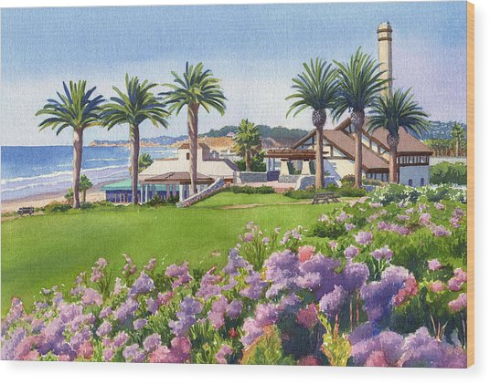 Community Center At Del Mar Wood Print by Mary Helmreich