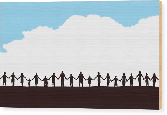 Community, People In A Row Holding Hands Wood Print by KeithBishop