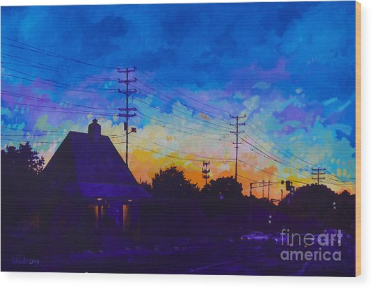 Commuter's Sunset Wood Print