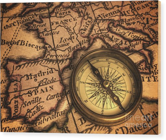 Compass And Ancient Map Of Europe Wood Print