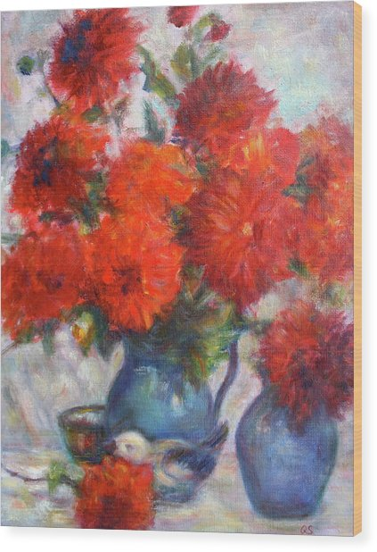 Complementary - Original Impressionist Painting - Still-life - Vibrant - Contemporary Wood Print