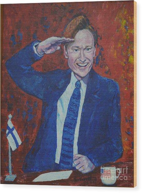 Conan O'brien Flagging Finland Wood Print