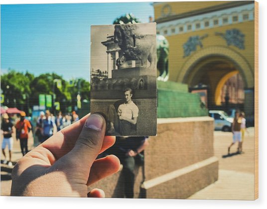 Conceptual Comparison With Old Photograph Outdoors Wood Print by Georgy Dorofeev / EyeEm