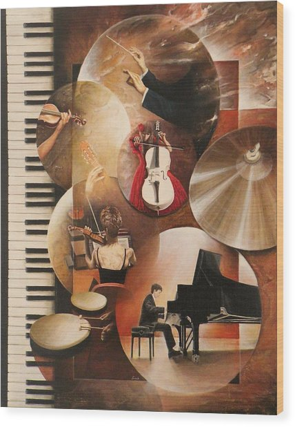 Concerto Pour Piano Wood Print by Frank Godille