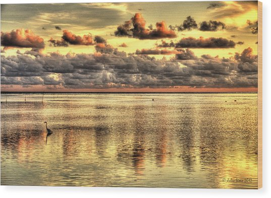 Conch Key Bay Sunset Wood Print
