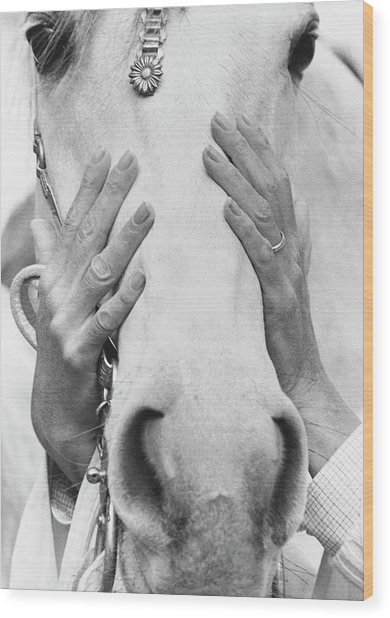 Conchita Cintron Holding The Head Of A Horse Wood Print