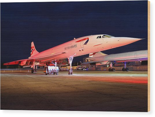 Concorde On Stand Wood Print