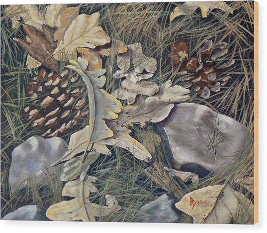 Cones Rocks Leaves And Needles Wood Print