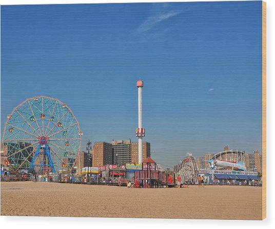 Coney Island Astroland Wood Print