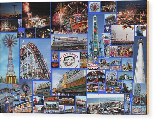 Coney Island Collage Wood Print