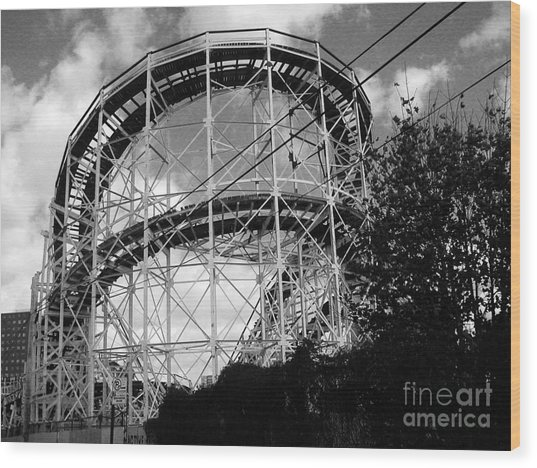 Coney Island Roller Coaster Wood Print