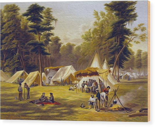Confederate Camp Wood Print