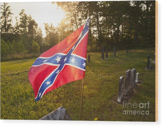 Confederate Flag In An Old Cemetery Wood Print by Jonathan Welch