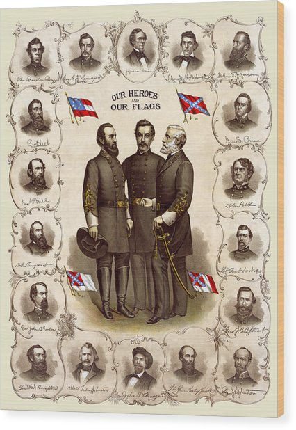 Confederate Generals And Flags Wood Print