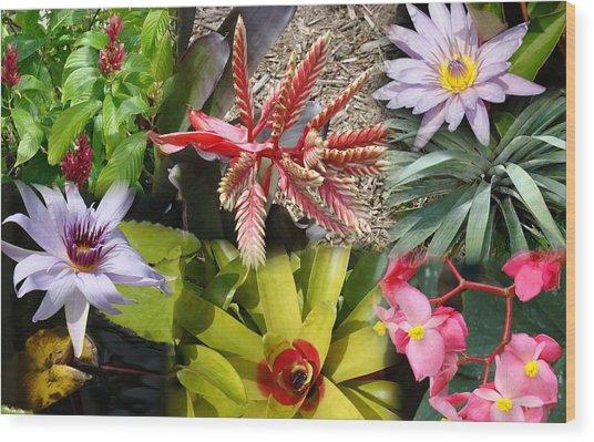 Confluent Flowers 4 Wood Print