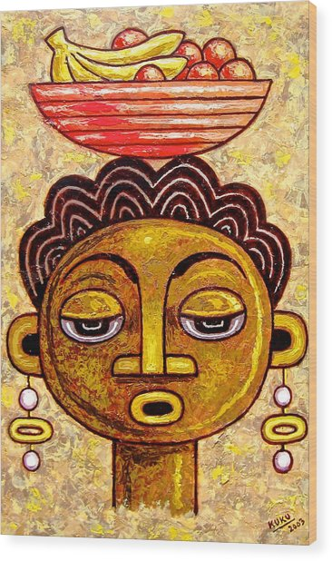 Congalese Face 1 Wood Print