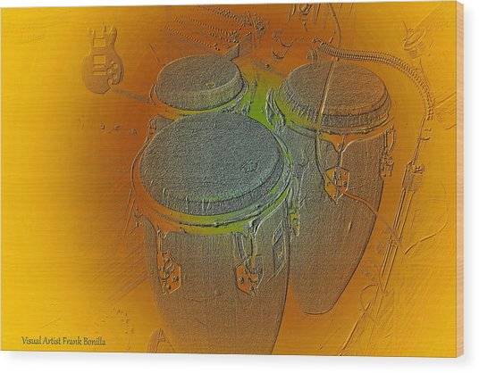 Wood Print featuring the digital art Congas by Visual Artist Frank Bonilla