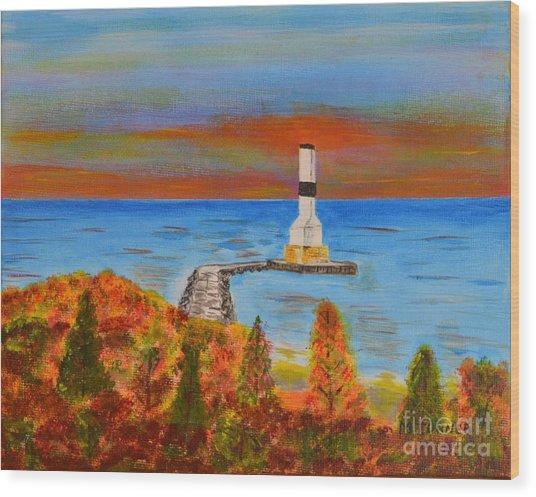 Fall, Conneaut Ohio Light House Wood Print