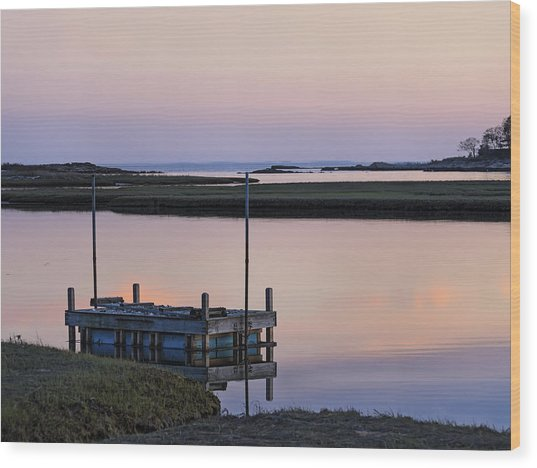 Connecticut Backwaters Sunset With Dock  Wood Print