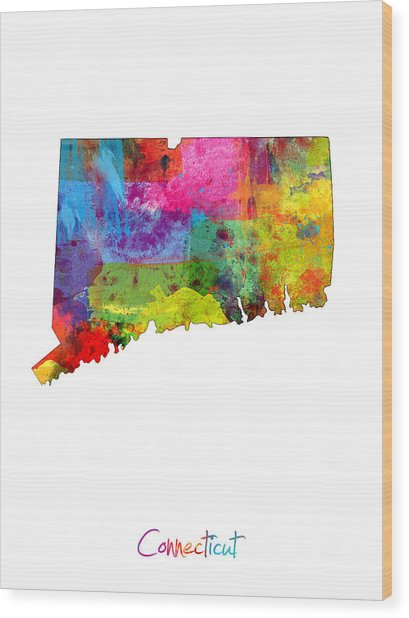 Connecticut Map Wood Print