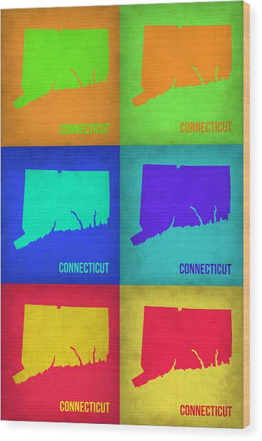 Connecticut Pop Art Map 1 Wood Print