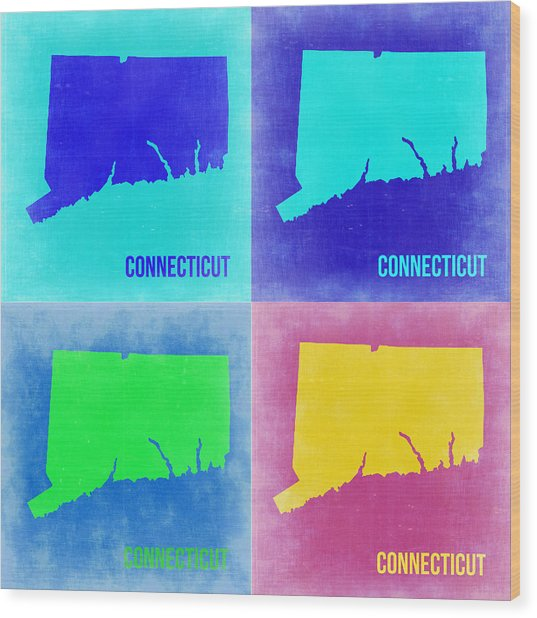 Connecticut Pop Art Map 2 Wood Print