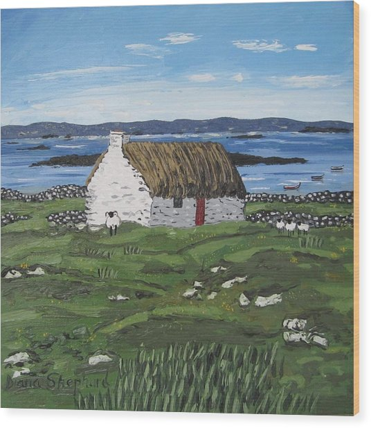 Connemara Thatched Cottage With Sheep Ireland Wood Print