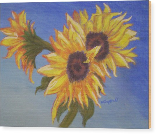 Connies Sunflowers Wood Print