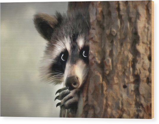 Wood Print featuring the mixed media Conspicuous Bandit by Christina Rollo