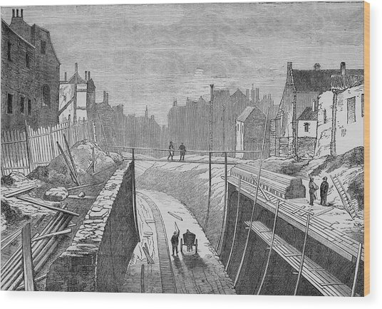 Constructing An Underground  Line Wood Print by Mary Evans Picture Library